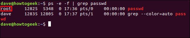 """La commande """"ps -e -f   grep passwd"""" dans une fenêtre de terminal."""