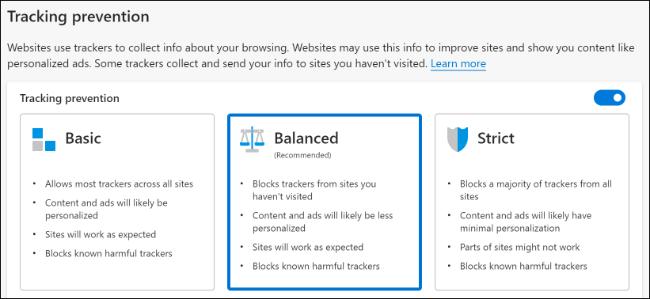 """Les options """"Prévention du suivi"""" dans Microsoft Edge."""