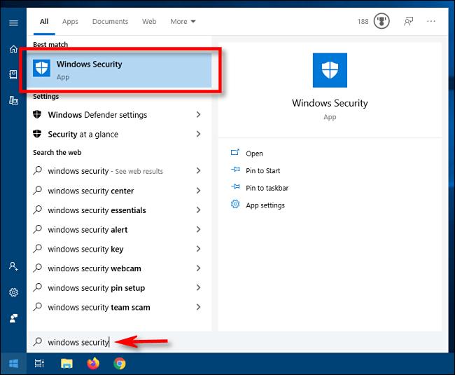 Inicie Seguridad de Windows desde el menú Inicio de Windows 10