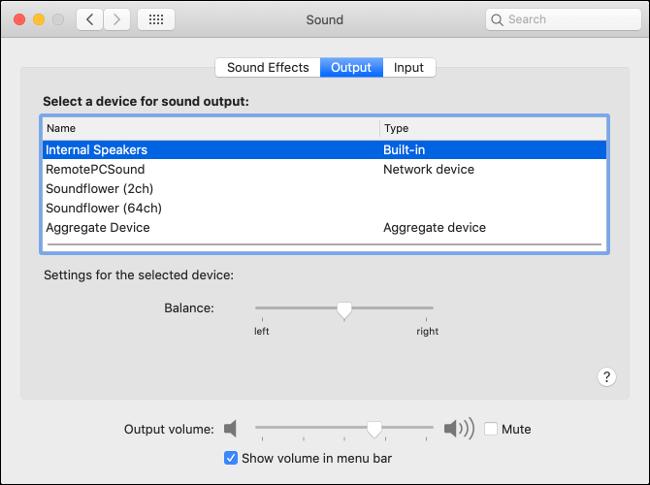 Einstellungen für die MacOS-Audioausgabe