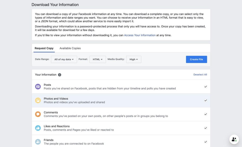Vous pouvez choisir les données Facebook que vous souhaitez télécharger.