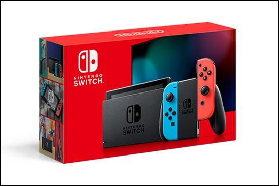Une boîte rouge Nintendo Switch.