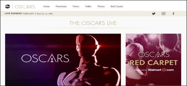 El sitio web de ABC con los Oscar.