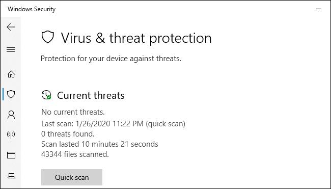 La pantalla de protección contra amenazas de seguridad y virus de Windows en Windows 10