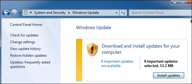 Windows Update télécharge les mises à jour sur Windows 7.
