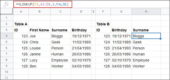 RECHERCHEV dans Google Sheets, renvoyant des données d'une table à une autre.