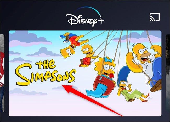 Aplicación Disney + Elige programa de televisión