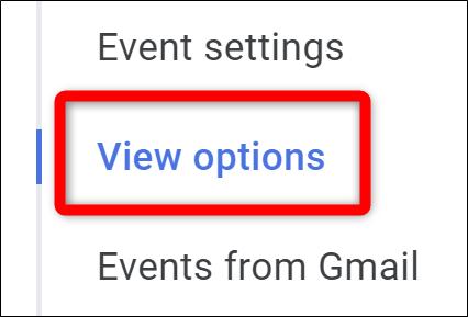 Google Kalender Wählen Sie Optionen anzeigen