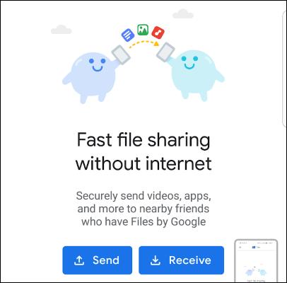 Condivisione di file in stile AirDrop per Android in Files by Google