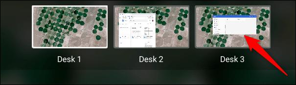 Pour changer de bureau, cliquez sur l'un d'entre eux dans le mode Vue d'ensemble.