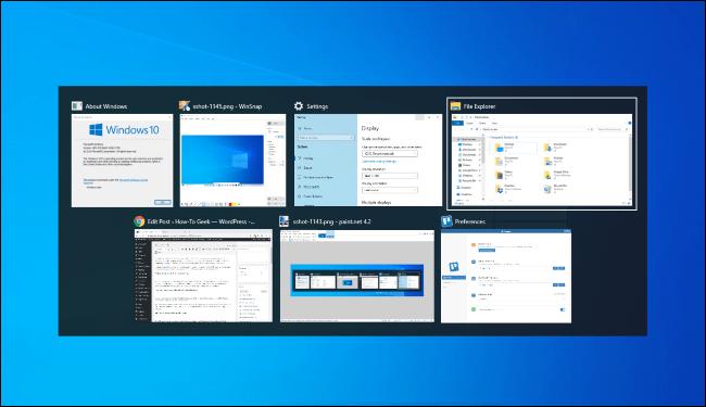 Wechseln Sie unter Windows 10 mit Alt + Tab zwischen Fenstern.