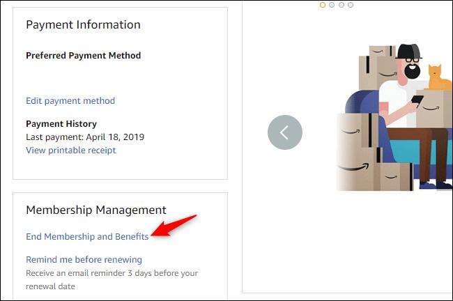 Option pour mettre fin aux avantages de l'adhésion Prime sur Amazon.com