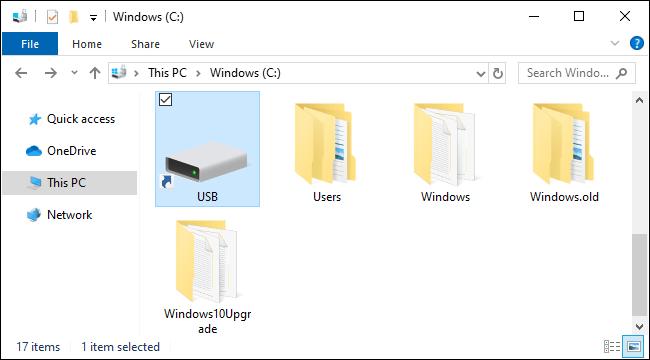 USB-Laufwerk als Ordner in Windows 10 bereitgestellt.