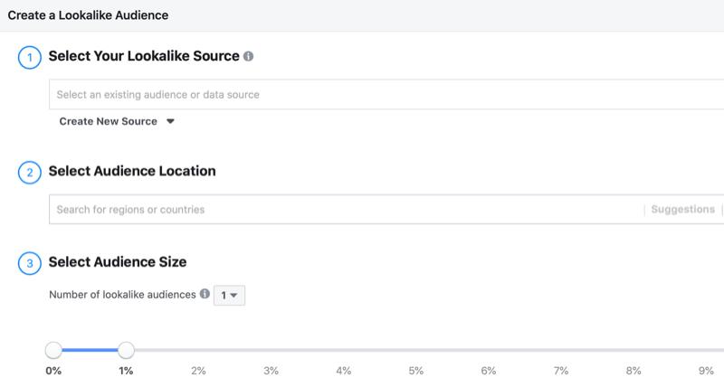 Configuration d'audience similaire à Facebook