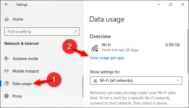 Option pour afficher l'utilisation des données par application dans les paramètres de Windows 10