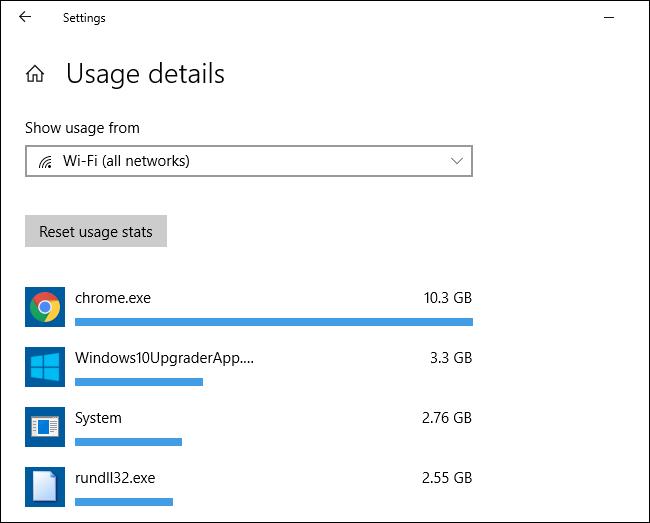 Statistiques d'utilisation des données réseau par application dans Windows 10