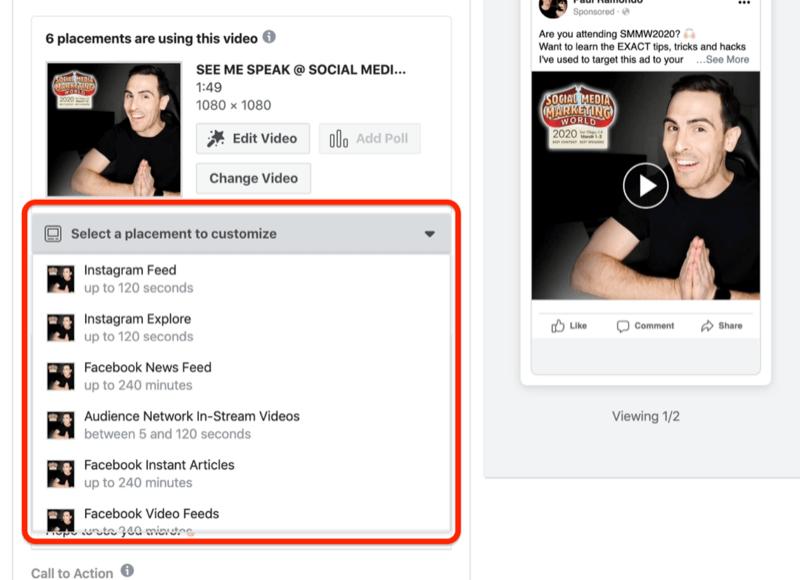 Sélectionnez un emplacement à personnaliser dans le menu déroulant dans Ads Manager