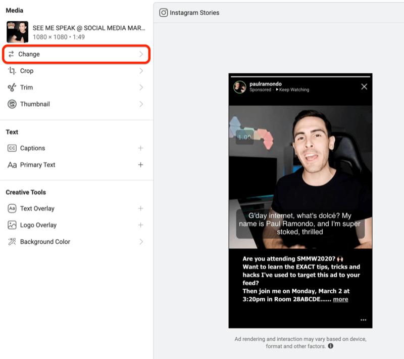 modifier la création publicitaire Facebook par emplacement