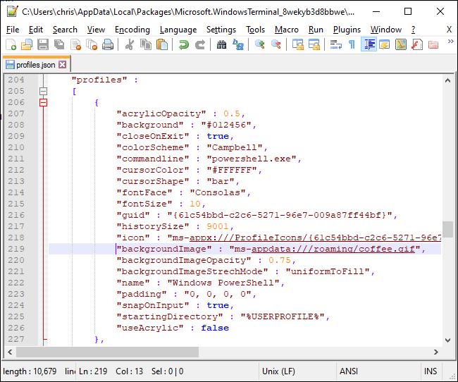 Définition d'une image d'arrière-plan dans le fichier JSON du terminal Windows