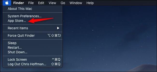 Option App Store dans le menu Apple de la barre de menus macOS