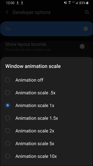 Verschiedene Optionen für die Skalierung von Fensteranimationen unter Android