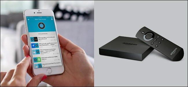 Une application Nest sur iPhone à côté d'un FireTV.