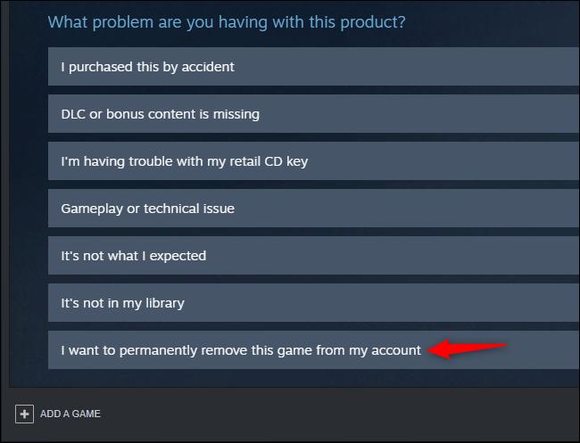 Option pour supprimer définitivement un jeu d'un compte Steam