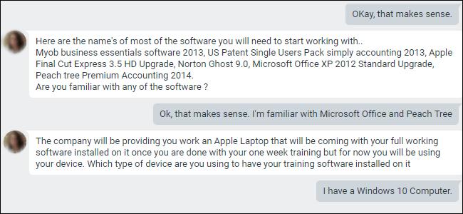 Chat Google Hangouts décrivant les applications requises pour la formation.