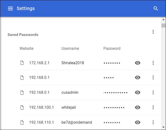 La liste complète de tous les mots de passe enregistrés sur Chrome