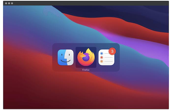 Le sélecteur d'application macOS.