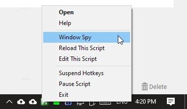 Raccourcis spécifiques à l'application avec Ahk Window Spy
