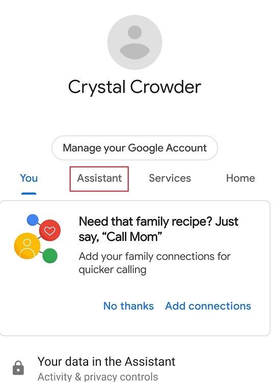 Comment utiliser l'onglet Assistant des fonctionnalités de Google Assistant Family Bell