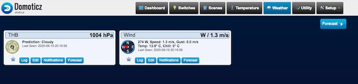 Vous pouvez désormais consulter les données météorologiques depuis votre tableau de bord Domoticz.