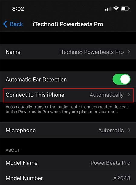 Basculer les Airpods entre les appareils Connect Option 2