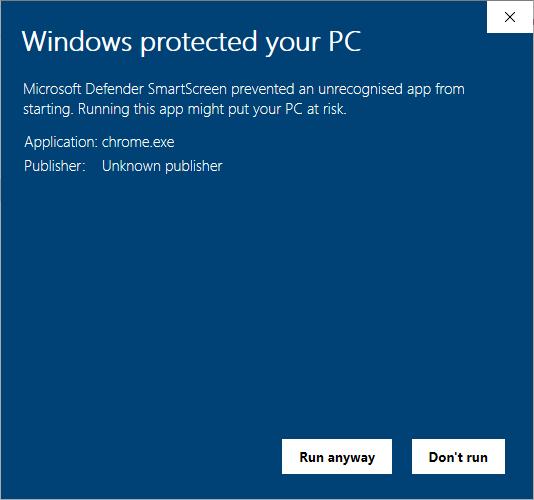 Installez Chromium Windows 10 Smartscreen