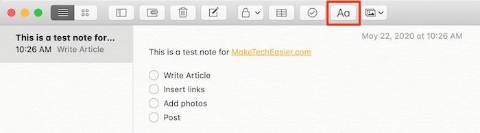 Démarrer Notes Barre d'outils Mac Aa