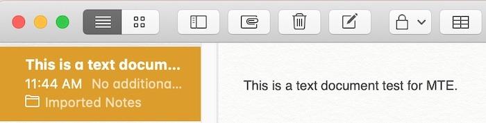 Prise en main Notes Texte importé du fichier Mac