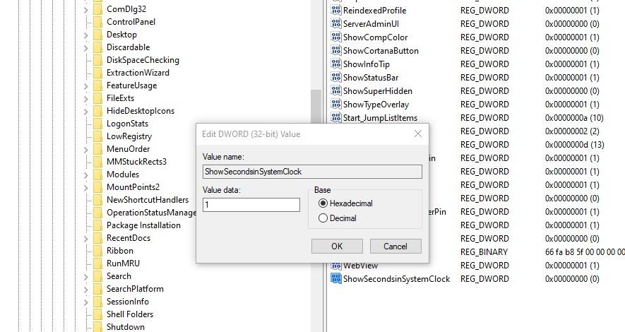 Afficher les secondes dans l'horloge système Windows 10 Regedit