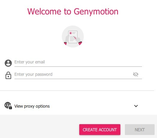 Genymotion Win10 Créer un compte 1