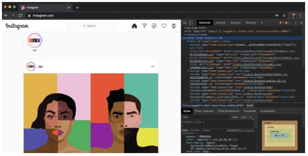 Comment publier sur Instagram à partir du PC étape 3 : fenêtre développeur Chrome