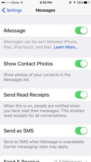 paramètres-messages