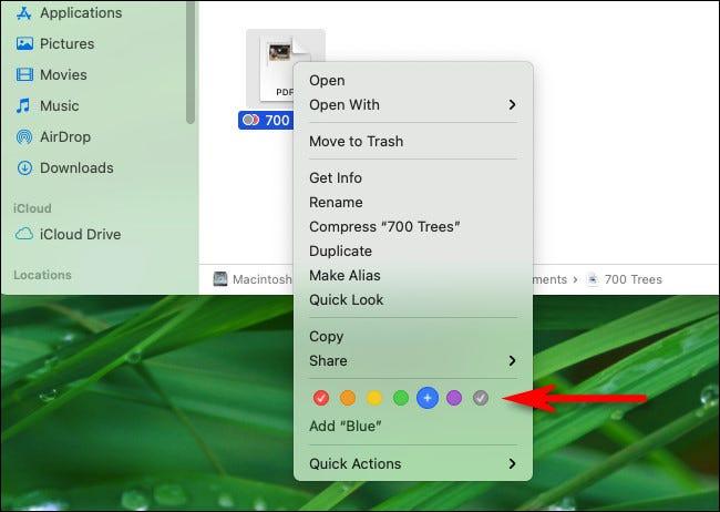 Cliquez avec le bouton droit sur un fichier et sélectionnez un cercle de balise de couleur dans le menu.