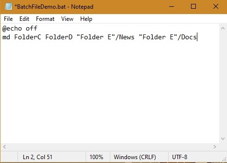 Fichiers batch Sous-dossiers Win10