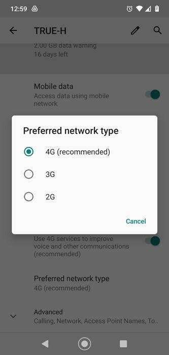 Les données mobiles ne fonctionnent pas Type de réseau Android