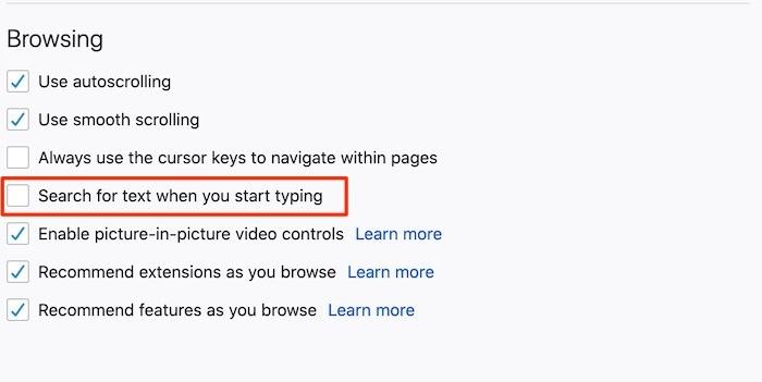 Rechercher une page Web Word Navigation Firefox