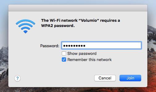 Vous pouvez vous connecter au point d'accès Volumio à partir de n'importe quel appareil compatible Wi-Fi.