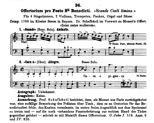 Köchel, catalogo delle Opere di Mozart, Offertorio K 34