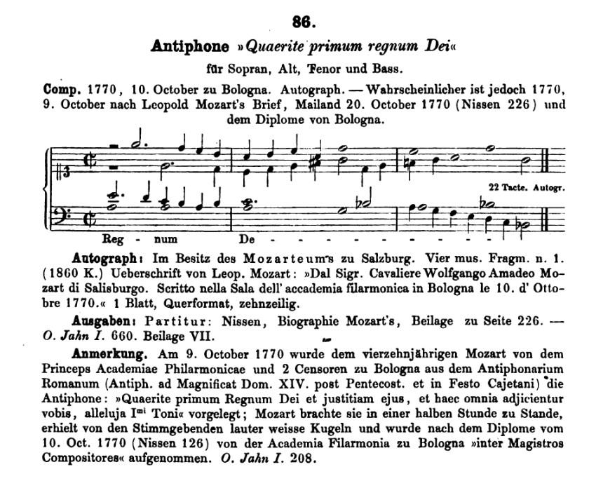Köchel, catalogo delle opere di Mozart, K 86, Antifona: Quaerite primum regnum Dei