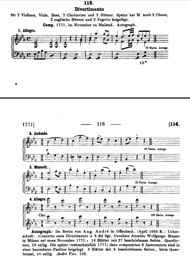 Catalogo Köchel, K.113, Divertimento in mi bemolle maggiore