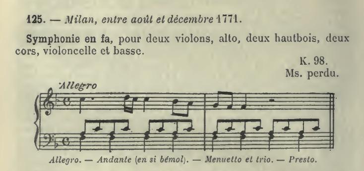 Catalogo Wyzewa - de Saint-Foix 125, K 98, sinfonia in fa maggiore